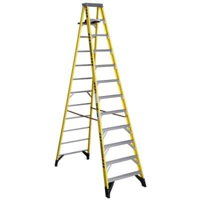 12 ft. Fiberglass Step Ladder with Shelf 375 lb. Load Capacity Type IAA Duty Rating