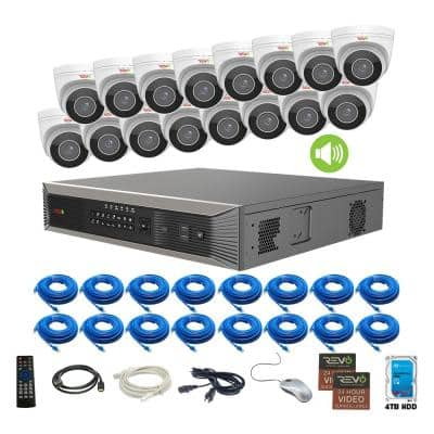 Ultra HD Commercial Grade Audio Capable 16-Channel 4TB NVR Surveillance System with 16 4K Motorized Cameras