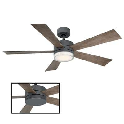 Wynd 52 in. LED Indoor/Outdoor Graphite 5-Blade Smart Ceiling Fan with 3000K Light Kit and Remote