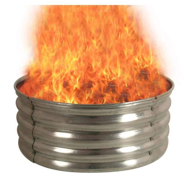 30 In Round Galvanized Steel Fire Pit Ring Ds 18727 The Home Depot