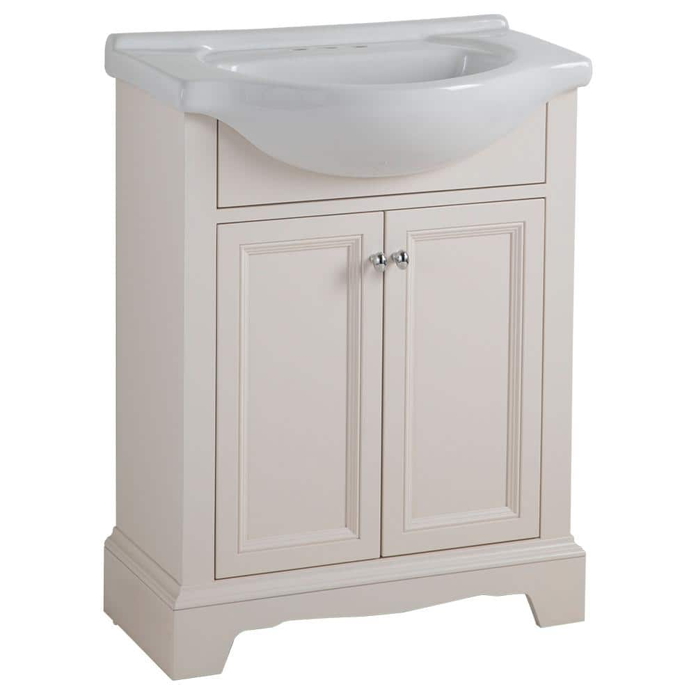 Glacier Bay Valencia 26 In W X 18 In D Bathroom Vanity In Cream With Porcelain Vanity Top In White With White Sink Vaiip2 Cr The Home Depot