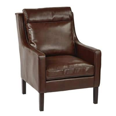 Colson Cocoa Bonded Leather Accent Chair with Solid Wood Legs