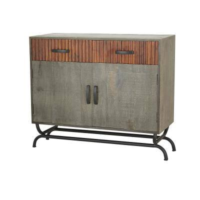 39 in. x 33 in. Industrial Grey Metal and Wood Cabinet