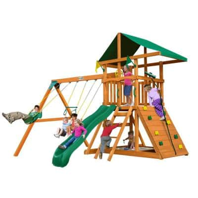 DIY Outing III Wooden Swing Set with Rock Wall and Slide