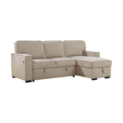 Miranda 2-Piece Beige Linen Reversible Sectional with Dual USB Ports