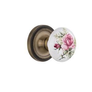 Rope Rosette Double Dummy White Rose Porcelain Door Knob in Antique Brass