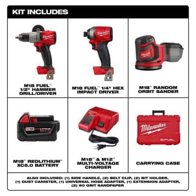 M18 FUEL 18-Volt Lithium-Ion Brushless Cordless Combo Kit (2-Tool) with 2 Batteries, Charger, and Random Orbit Sander