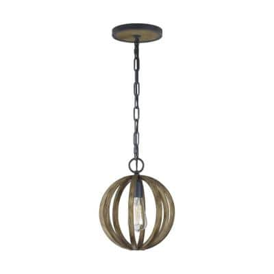 Allier 10 in. W 1-Light Metal Painted Weathered Oak Wood/Antique Forged Iron Orb Chandelier