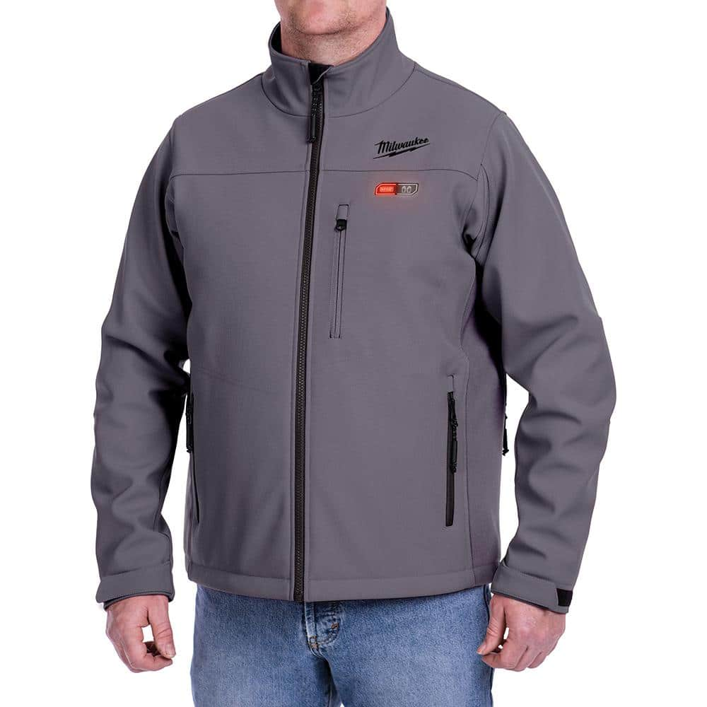 Milwaukee Men S 2x Large M12 12 Volt Lithium Ion Cordless Gray Heated Jacket Kit With 1 2 0ah Battery And Charger 202g 212x The Home Depot