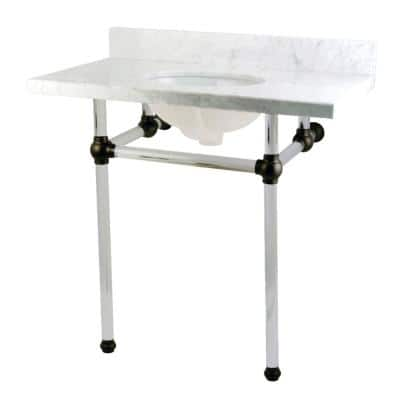 Washstand 36 in. Console Table in Carrara White with Acrylic Legs and Connectors in Matte Black