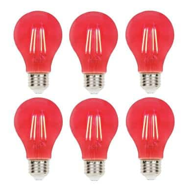 40-Watt Equivalent A19 Dimmable Red Filament LED Light Bulb (6-Pack)