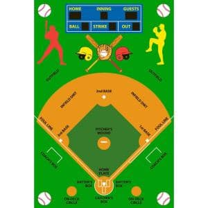 Fun Time Baseball Field Multi Colored 3 ft. x 5 ft. Area Rug