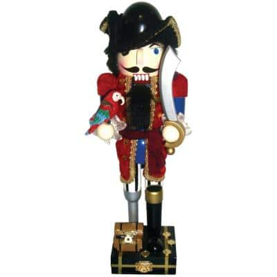 14 in. Red Coat Peg-Leg Pirate Nutcracker with Parrot