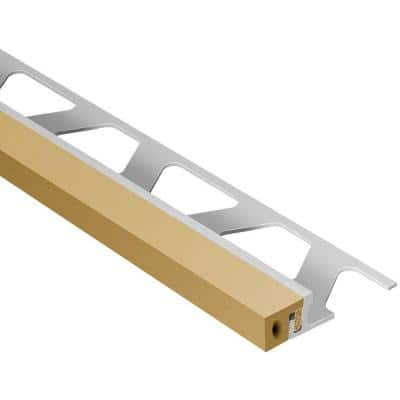 Dilex-KSA Aluminum with Light Beige Insert 3/8 in. x 8 ft. 2-1/2 in. Rubber and Metal Movement Joint Tile Edging Trim