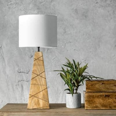Lily 24 in. Natural Modern Table Lamp with Shade