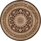 Timeless Aviva Brown Traditional French Oriental 8 ft. x 8 ft. Round Area Rug