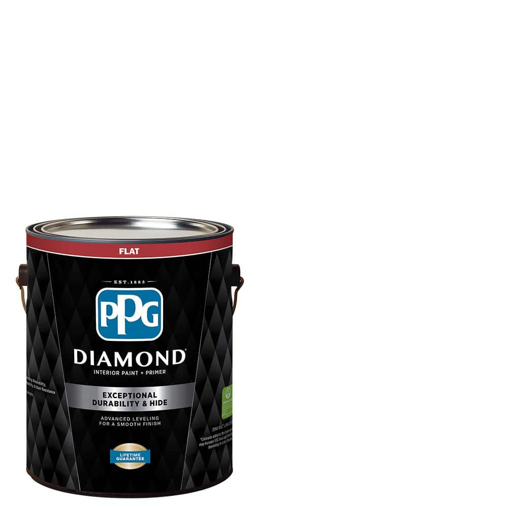 Ppg Diamond 1 Gal Pure White Base 1 Flat Interior Paint With Primer Ppg53 110 01 The Home Depot