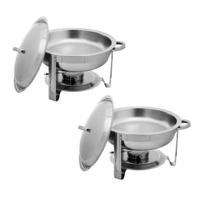 5 qt.Round Chafer Kit Stainless Steel Chafing Dish (Set of 2)