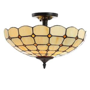 Jason 15.7 in. Cream 2-Light Tiffany-Style Glass/Metal LED Semi-Flush Mount