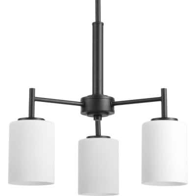 Replay Collection 3-Light Textured Black Etched White Glass Glass Modern Chandelier Light