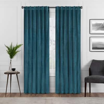 Harper Velvet 50 in. W x 84 in. L Absolute Zero Blackout Curtain Panel in Teal