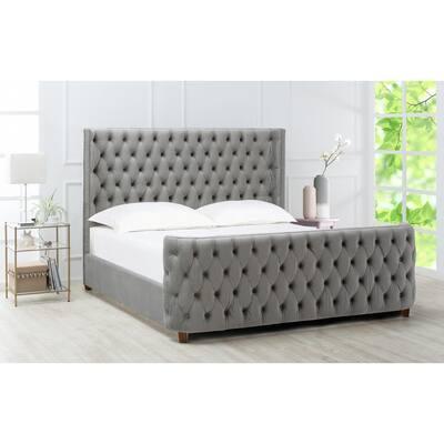 Brooklyn Tufted Opal Grey King Headboard Bed