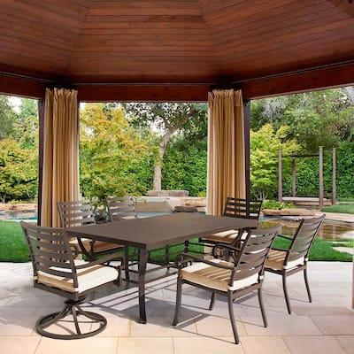 Denali 7-Piece Brown Aluminum Outdoor Patio Dining Set with Tan Cushions