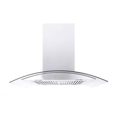 36 in. 550 CFM Residential Island Range Hood with LED Lights in Stainless Steel and Tempered Glass Canopy