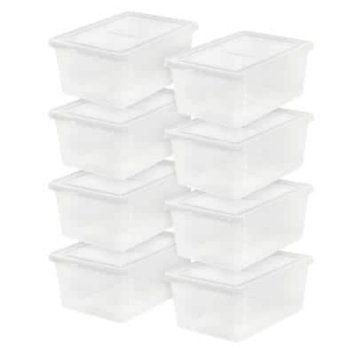 15.5 Qt. Snap Top Storage Tote, with Stackable, in Clear, (8 Pack)