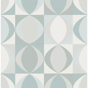 Archer Light Blue Linen Geometric Light Blue Wallpaper Sample