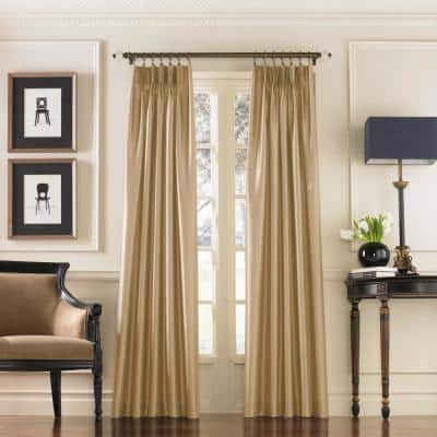 Marquee Sand Light Filtering Pinch Pleat/Back Tab Lined Curtain Panel - 30 in. W x 120 in. L