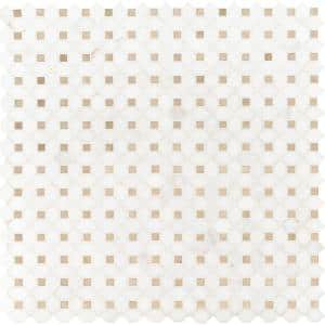 Bianco Dolomite Crema Dotty 12.4 in. x 12.4 in. x 10 mm Polished Marble Mosaic Tile (10.7 sq. ft. / case)