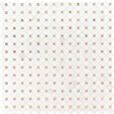 Bianco Dolomite Crema Dotty 12.4 in. x 12.4 in. x 10 mm Polished Marble Mesh-Mounted Mosaic Tile (10.7 sq. ft. / case)