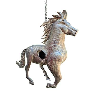 Gray Galvanized Hanging Animal Horse Birdhouse