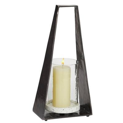 Black Terrazzo Contemporary Candle Lantern