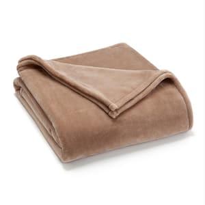 Sheared Mink Khaki Polyester Twin Blanket