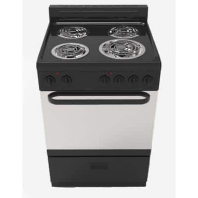 24 in. 2.7 cu.ft. Single Oven Electric Range with 4 Burners and Storage Drawer in Black with Stainless Steel Door