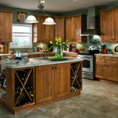 Hargrove Assembled 18x84x24 in. Plywood Shaker Utility Kitchen Cabinet Soft Close Right 4 rollouts in Stained Cinnamon