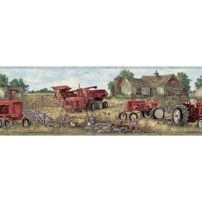 Oakley Red Countryside Red Wallpaper Border Sample