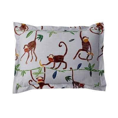 Monkey Business Multicolored 200-Thread Count Cotton Percale Standard Sham