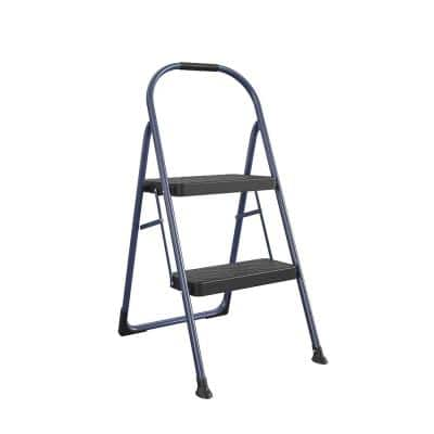 2-Step Big Step Steel and Resin Step Stool (ANSI Type 2, 225 lbs. Weight Capacity in Navy)
