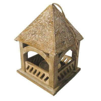 Brown Floral Engraved Decorative Temple Top Mango Wood Hanging Bird House with Feeder