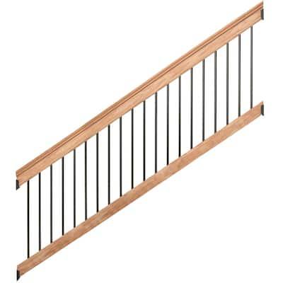 8 ft. Aluminum Cedar-Tone Southern Yellow Pine Deck Stair Railing Kit