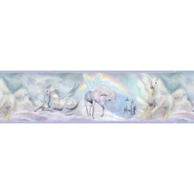 Farewell Blue Unicorn Dreams Portrait Purple Wallpaper Border