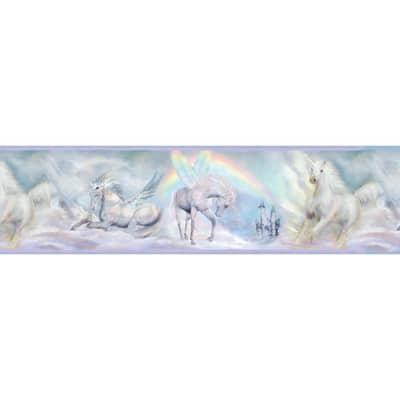 Farewell Blue Unicorn Dreams Portrait Purple Wallpaper Border Sample