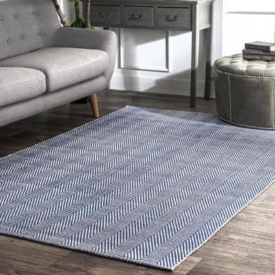 Kimberely Casual Striped Navy 8 ft. x 10 ft. Area Rug