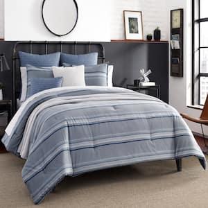 Eastbury 3-Piece Gray Striped Cotton Full/Queen Duvet Cover Set