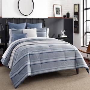 Eastbury 3-Piece Gray Striped Cotton King Duvet Cover Set