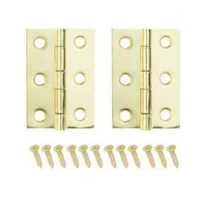 2 in. x 1-3/16 in. Bright Brass Middle Hinges