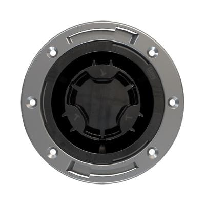 Fast Set 3 in. Outside Fit 4 in. Inside Fit ABS Hub Toilet Flange with Test Cap and Stainless Steel Ring